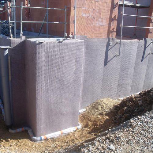 membrana de drenaje de polipropileno / de protección / de estanqueidad / para muro enterrado