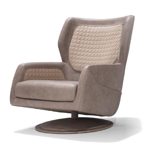 sillón contemporáneo / de cuero / de chapa de madera / giratorio