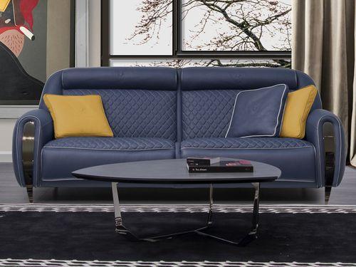 sofá clásico / de cuero / 3 plazas / azul