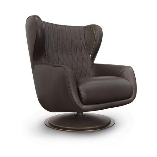 sillón contemporáneo / de cuero / giratorio / con orejas