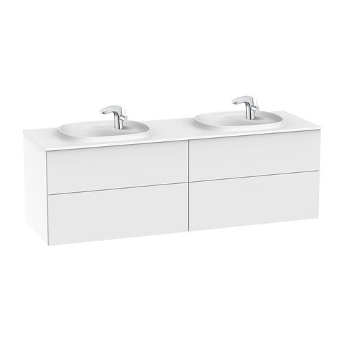 mueble de lavabo doble / suspendido / de aglomerado / contemporáneo