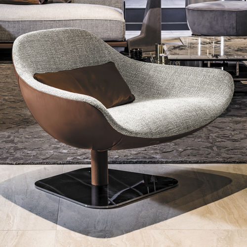 sillón contemporáneo / de tejido / de cuero / de metal