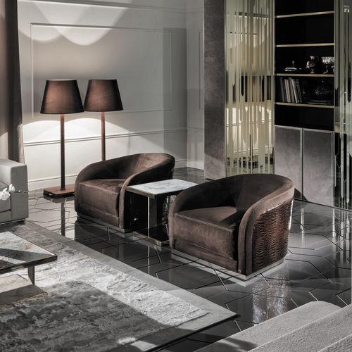 sillón contemporáneo / de tejido / de cuero