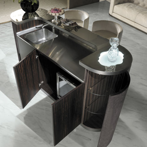 mueble bar moderno / de nogal / de ébano / de metal