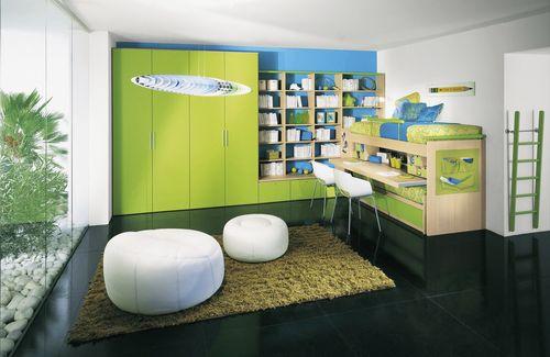habitación para niños verde