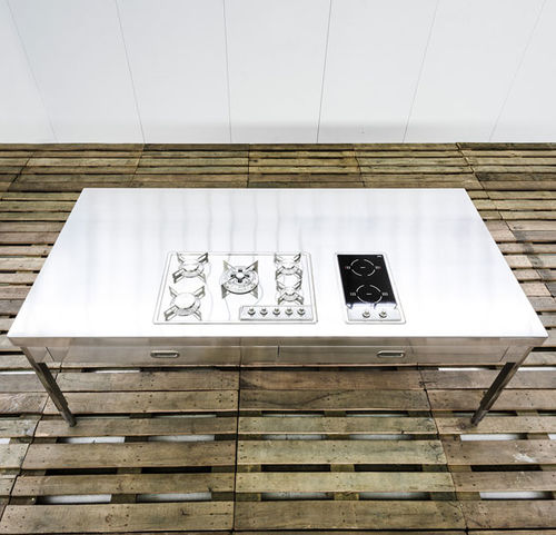 placa de cocina de inducción / de gas / de acero inoxidable / mixta