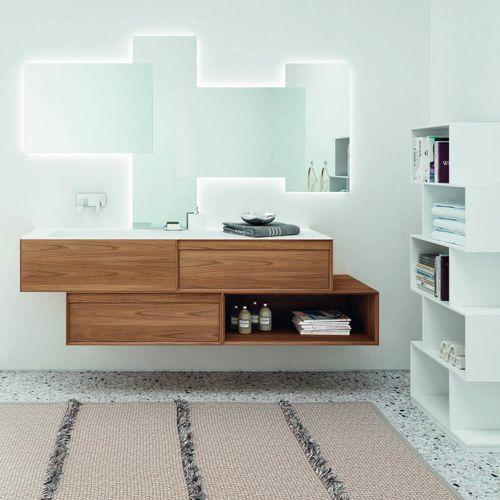 mueble de lavabo doble / suspendido / de pie / de roble