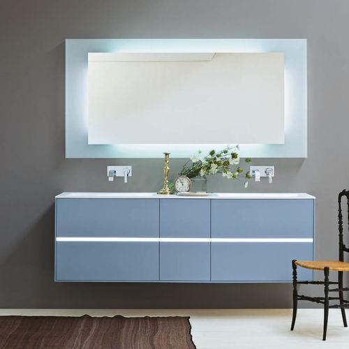 mueble de lavabo suspendido / de madera / moderno / con cajones