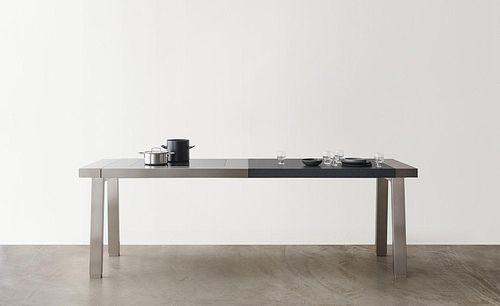 mesa de preparación de acero inoxidable / con fregadero / profesional