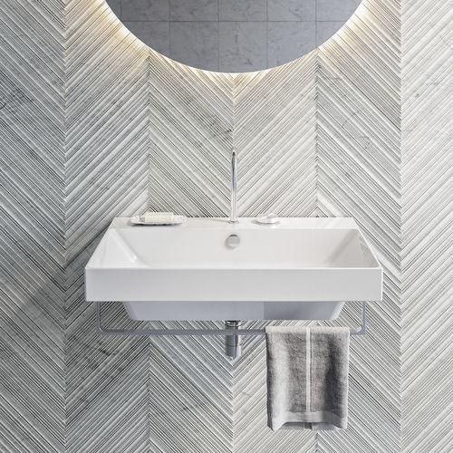 lavabo mural / rectangular / de cerámica / moderno