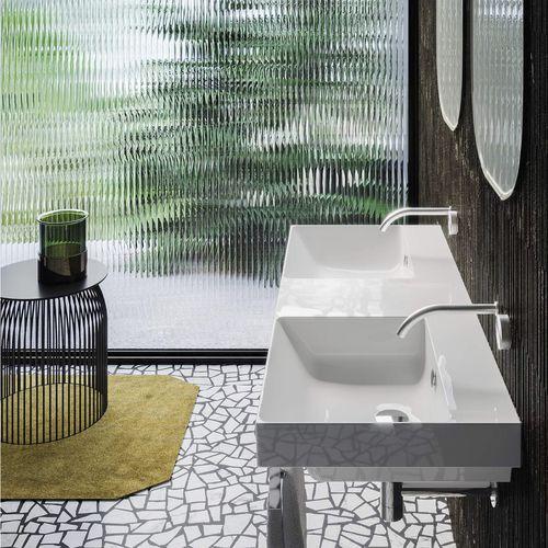 lavabo doble / mural / rectangular / de cerámica