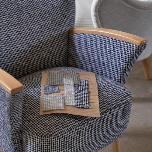 tela de tapicería / a cuadros / reciclada