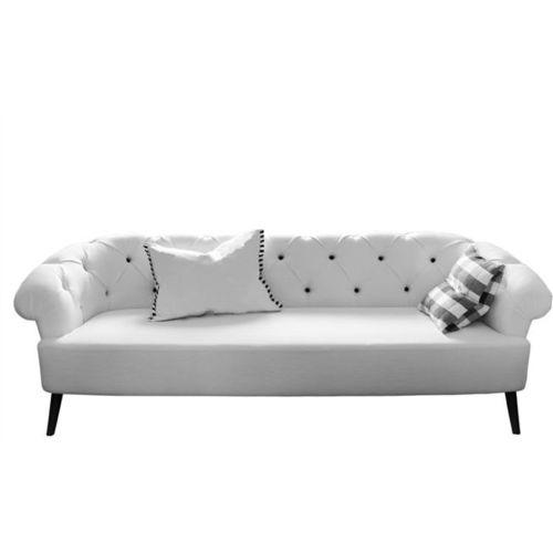 sofá Chesterfield / de tejido / 2 plazas / blanco