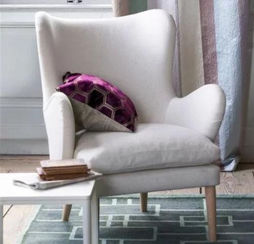 sillón moderno / de tejido / con orejas / con reposabrazos