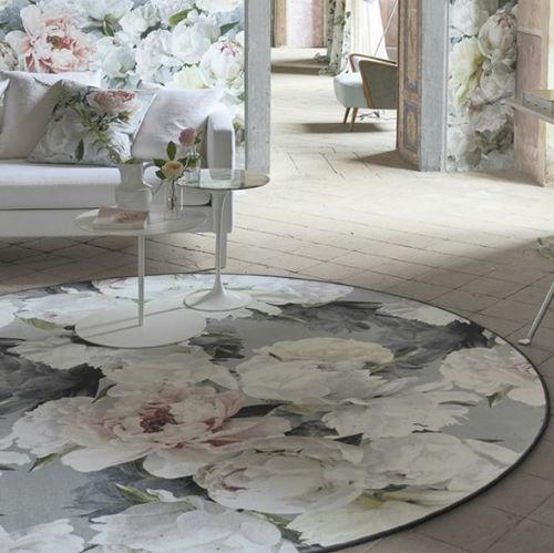 alfombra moderna / de flores / de poliamida / redonda