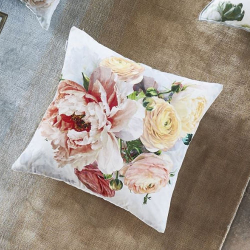 cojín cuadrado / con motivos florales / multicolor
