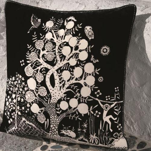 cojín cuadrado / con motivos de la naturaleza / de algodón / blanco