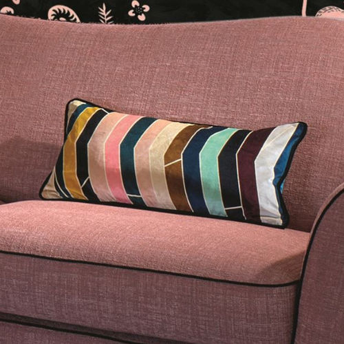 cojín rectangular / de rayas / de algodón / multicolor