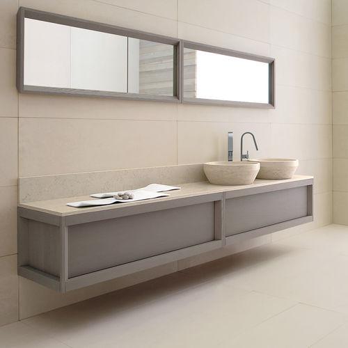 mueble de lavabo doble / suspendido / de pie / de fresno