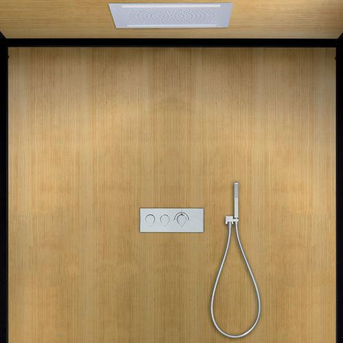 rociador de ducha empotrable de techo / rectangular / con cromoterapia / con iluminación integrada