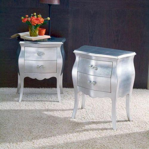 mesilla de noche de estilo / de madera maciza / rectangular / con cajón