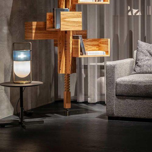 lámpara de mesa / contemporánea / de vidrio soplado / de cuero