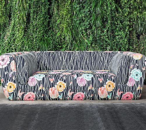 tela de tapicería / multicolor / de flores / de algodón