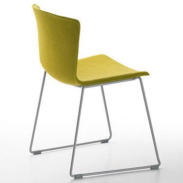 silla contemporánea / patín / tapizada / de polipropileno