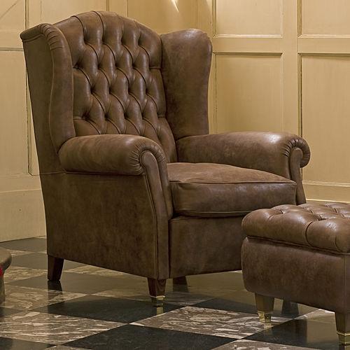 sillón Chesterfield / de tejido / de cuero / con orejas