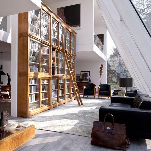 biblioteca modular / clásica de estilo Biedermeier / de cerezo / cara de vidrio templado