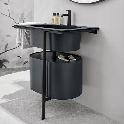 mueble de lavabo de pie / de madera lacada / de cerámica / de metal