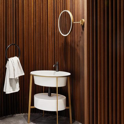 espejo para baño de pared / con luz LED / basculante / contemporáneo