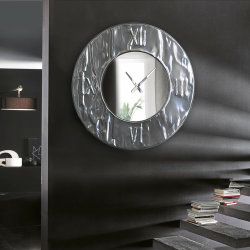 reloj contemporáneo / analógico / de pared / de aluminio
