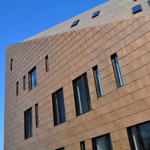 revestimiento de fachada de cobre / de aleación / patinado / de paneles