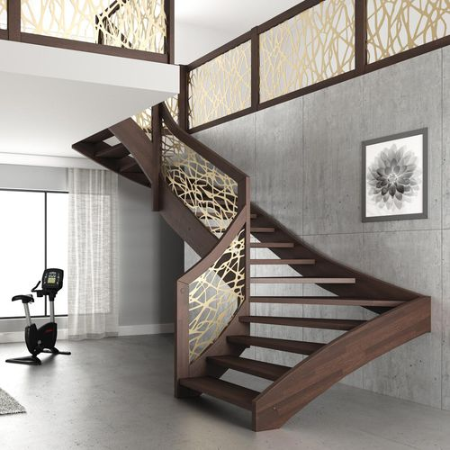 escalera en U / estructura de madera / con peldaños de madera / sin contrahuellas