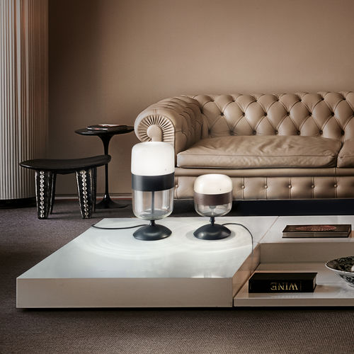 lámpara de mesa / contemporánea / de metal / de vidrio soplado