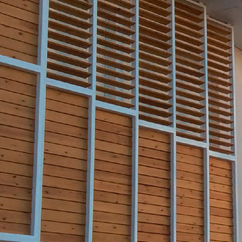 celosía con lamas de madera / para fachada / vertical / orientable