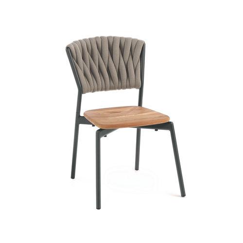 silla contemporánea / con reposabrazos / apilable / de tejido