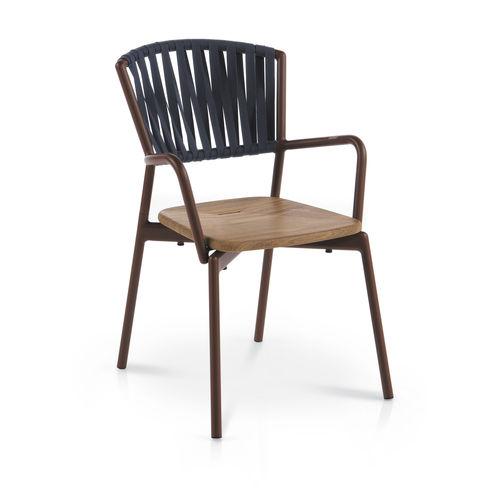 silla contemporánea / con reposabrazos / apilable / con cojín amovible