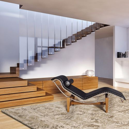 alfombra contemporánea / con motivos / de seda vegetal / rectangular