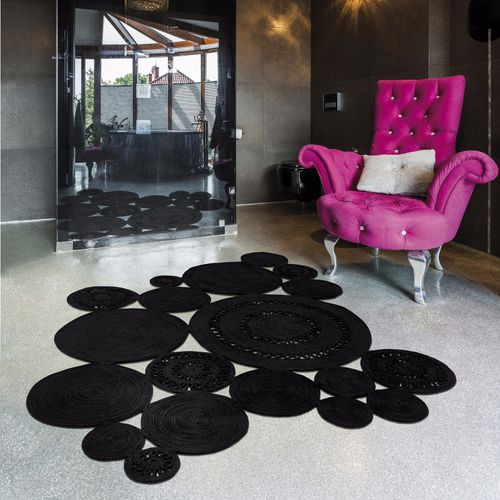 alfombra contemporánea / con motivos / de polipropileno / redonda