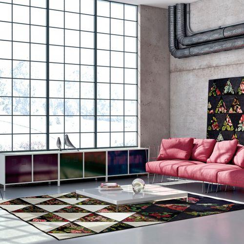 alfombra moderna / multicolor / con motivos geométricos / de flores