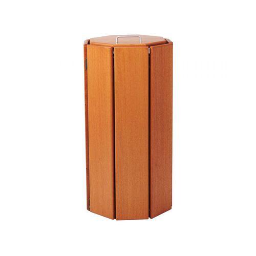 cubo de basura público / de acero galvanizado / de aluminio / de madera exótica