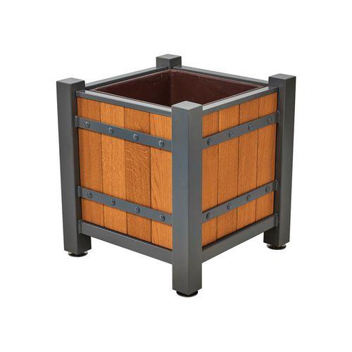 jardinera de roble / de acero galvanizado / de chapa de acero / de poliéster