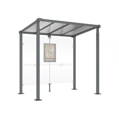 parada de autobús de vidrio