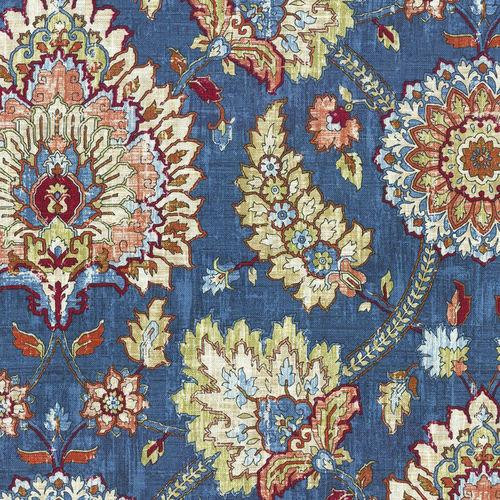 tela de tapicería / con motivos florales / de lino