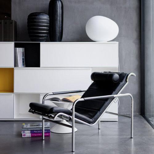sillón moderno / de cuero / de acero / de poliuretano
