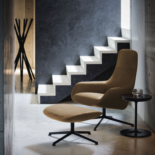 sillón contemporáneo / de tejido / de cuero / de acero
