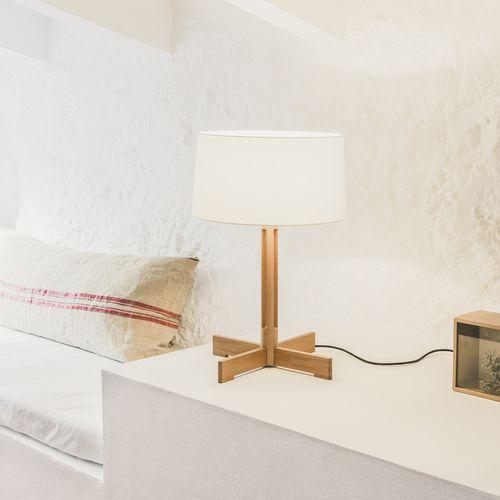 lámpara de mesa / contemporánea / de lino / de roble