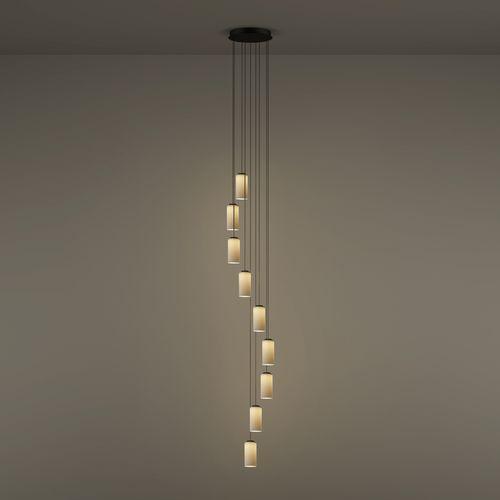 lámpara suspendida / contemporánea / de latón pulido / de vidrio opalescente